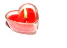 Vela en forma de corazón roja Imagen de archivo libre de regalías