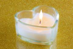 Vela en forma de corazón Foto de archivo libre de regalías