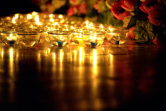A vela iluminou a cultura tailandesa no dia de Asalha Puja, dia de Magha Puja, Visakha Puja Day imagens de stock royalty free