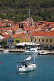 Vela Luka, Croatia. August 6, 2017: Traditional Mediterranean architecture, sailboats and fishing boats in port of Vela Luka, small town on island Korcula stock photos