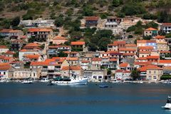 Vela Luka, Croatia. August 6, 2017: Traditional Mediterranean architecture, sailboats and fishing boats in port of Vela Luka, small town on island Korcula stock images