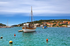 Vela Luka, Korcula. Croatia. stock photo