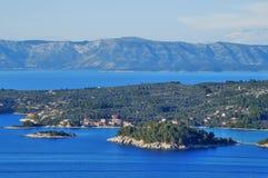 Coves and islets near Vela Luka on Korcula island Royalty Free Stock Photos