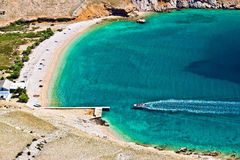 Vela luka turquoise beach aerial, Krk, Croatia. Beautiful pebbles & sand hidden turquoise beach on Island of Krk, Croatia Stock Photography