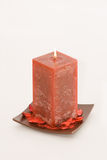 Vela perfumada roja Fotos de archivo libres de regalías