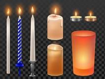 Vela realista Días de fiesta de la Navidad o velas del cumpleaños, cera el flamear del parpadeo y llama romántica del fuego candl ilustración del vector