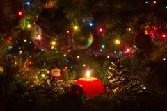 Vela roja de la Navidad rodeada por las ramas del pino Imagenes de archivo