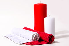 Vela roja y blanca Fotos de archivo libres de regalías