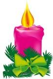 Vela rosada de la Navidad Imágenes de archivo libres de regalías