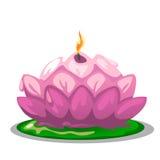Vela rosada en forma de una flor de Lotus Foto de archivo