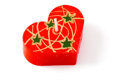 Vela vermelha do coração. Isolado, trajeto de grampeamento Imagens de Stock