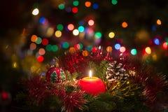 Vela vermelha do Natal Imagens de Stock Royalty Free