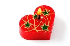 A vela vermelha pequena do coração isolou-se Fotos de Stock