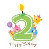 Vela y animales del feliz cumpleaños aislados stock de ilustración