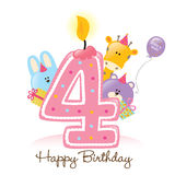 Vela y animales del feliz cumpleaños aislados en blanco stock de ilustración
