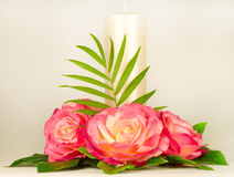 vela y rosas Fotos de archivo