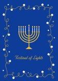 Velas aisladas en blanco Menorah y el festival de luces firman Diseño del vector foto de archivo libre de regalías