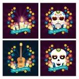 Velas ajustadas com crânios e guitarra ao dia dos mortos ilustração stock
