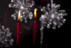 Velas ardentes vermelhas Imagem de Stock Royalty Free