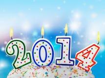Velas ardientes con el símbolo del Año Nuevo Imágenes de archivo libres de regalías