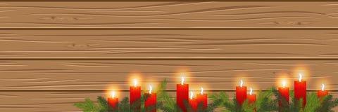 Velas ardientes en un fondo de madera cosiness Panorama Vecto stock de ilustración