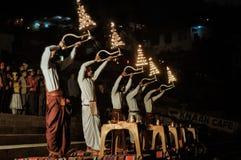 Velas ardientes en Uttarkhand Fotografía de archivo