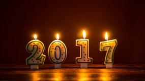 Velas ardientes número 2017 Imagen de archivo libre de regalías