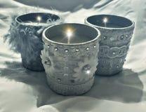 Velas bonitas do cinza azul Fotografia de Stock