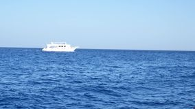 Velas brancas do iate do navio na água azul do mar ou do oceano filme