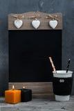 Velas, calabaza y decoración casera del otoño Foto de archivo libre de regalías