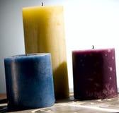 Velas coloreadas Imágenes de archivo libres de regalías