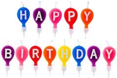 Velas coloridas de feliz aniversario Imagens de Stock