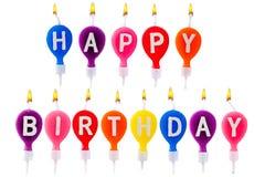 Velas coloridas de feliz cumpleaños Imágenes de archivo libres de regalías