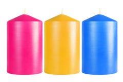 Velas coloridas decorativas Foto de archivo
