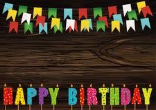 Velas coloridas del feliz cumpleaños Guirnalda del arco iris de banderas Lette libre illustration
