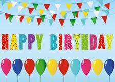 Velas coloridas del feliz cumpleaños Guirnalda del arco iris de banderas Lette stock de ilustración