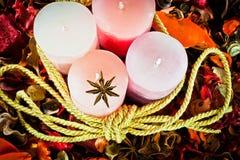 Velas da cera para o Natal Fotografia de Stock Royalty Free