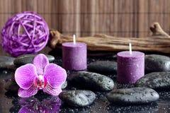Velas da orquídea e conceito roxos dos termas das pedras do zen Fotografia de Stock Royalty Free