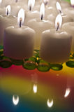 Velas da tabela do Lit Fotos de Stock