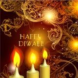 Velas de Diwali en fondo anaranjado elegante Foto de archivo