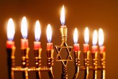 Velas de Hanukkah Imágenes de archivo libres de regalías