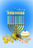 Velas de Hanukkah, anillos de espuma, pitc del petróleo ilustración del vector