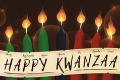 Velas de Kwanzaa com um rolo com os sete princípios, ilustração do vetor ilustração do vetor