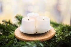 Velas de la Navidad en una rama del abeto Foto de archivo libre de regalías