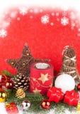 Velas de Navidad como tarjeta de Navidad Foto de archivo