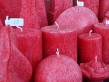 Velas decorativas rojas Imagenes de archivo