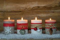 Velas del advenimiento de la Navidad Imagen de archivo