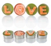 Velas del amor Fotos de archivo libres de regalías