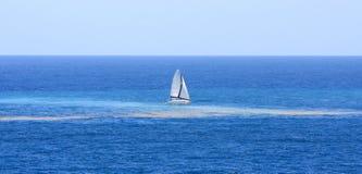 Velas del catamarán con la contaminación en el océano imágenes de archivo libres de regalías