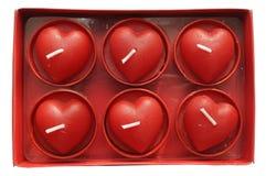 Velas del corazón Foto de archivo libre de regalías